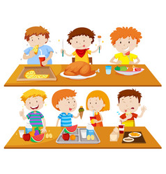 People eating different types of food vector