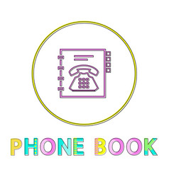 phone book bright round linear icon with telephone vector image