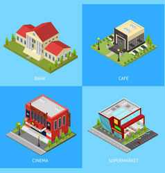 public building poster card set isometric view vector image