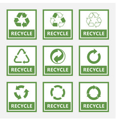 recycle labels and recycling signs set trash vector image
