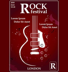 rock festival design template with guitar vector image