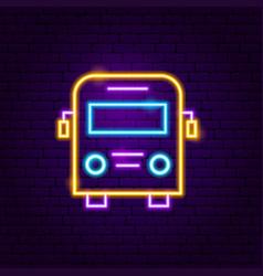 school bus neon label vector image