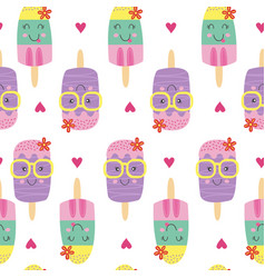 Seamless pattern with cute ice lolly vector