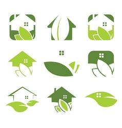Set ecological house icon vector