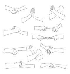 Set of different handshake silhouette vector