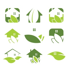 Set of ecological house icon vector