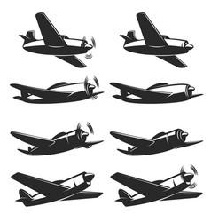 set retro airplane icons design element vector image