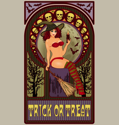 sexy witch with candle art nouveau greeting card vector image