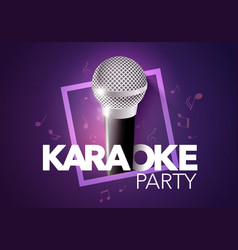 shiny karaoke music club label design template vector image