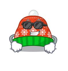 Super cool winter hat in mascot shape vector