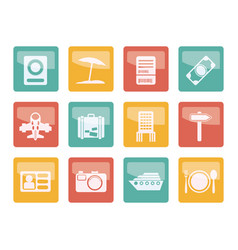 travel trip and holiday icons vector image
