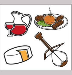 traveling montenegro food and drink with musical vector image