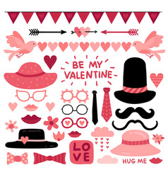 valentines day photo booth props pink love vector image