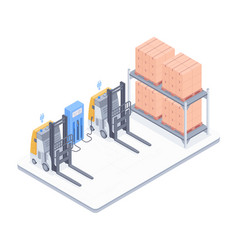 warehouse with forklifts isometric vector image