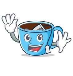 Waving tea cup character cartoon vector