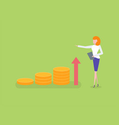 woman measuring growing chart golden coins vector image