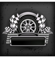 emblem races checkered flag background vector image vector image