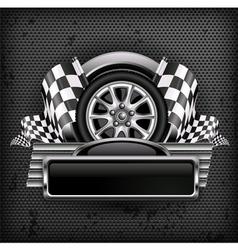 emblem races checkered flag background vector image