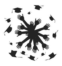 hands celebrating graduation circle vector image