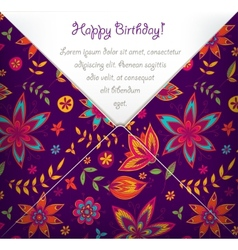 Happy Birthday card with colorful floral pattern vector image vector image