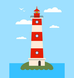 lighthouse on island with navigation light vector image