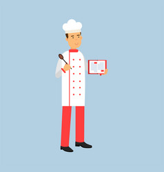 Male chef cook character in uniform standing and vector