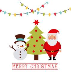 merry christmas card santa with reindeer tree vector image