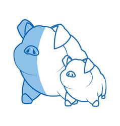 pig character farm animal domestic image vector image vector image
