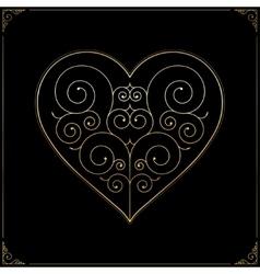 Valentines Day heart Ornate line art love symbol vector image