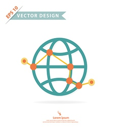 Wire frame global with point and route vector image vector image