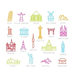 City flat color icons vector image