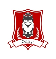 College heraldic sign with crowned owl on shield vector