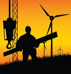 construction worker builds windmills vector image