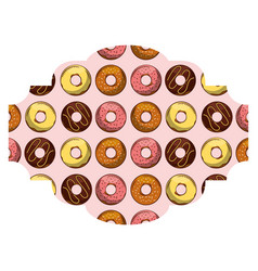 frame with donuts pattern background vector image