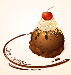 Ice cream ball choc chip vector