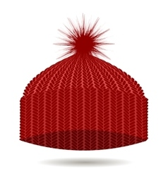 Red Knitted Cap Winter Hat vector image vector image