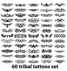 60 tribal tattoo set vector image vector image