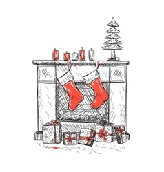 fireplace with socks vector image