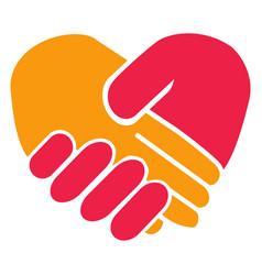handshake heart vector image vector image