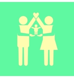 Parents icon with kid on their arms vector image
