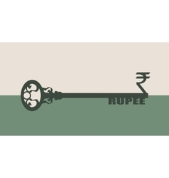 Rupee Symbol on key vector image vector image