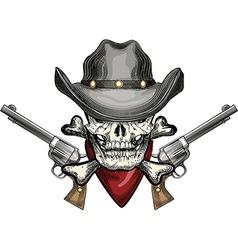 Skull in cowboy hat vector image