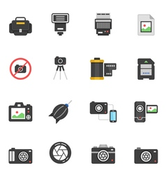 Color icon set - camera and accessory vector image vector image