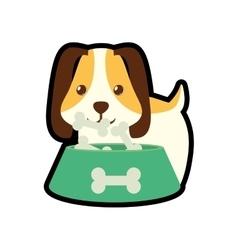 dog little pet domestic bowl food b print vector image vector image