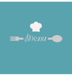Fork spoon word menu and chef hat card Flat design vector image