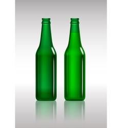 Full and empty green beer bottles vector image vector image