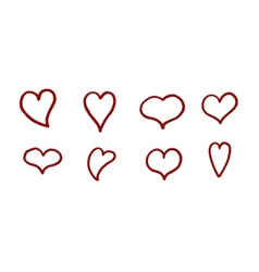 Hand drawn hearts set vector image