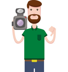 image of man with a video camera vector image