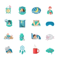 Sleep time flat icons set vector