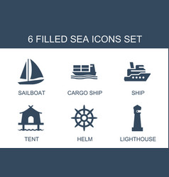 6 sea icons vector image